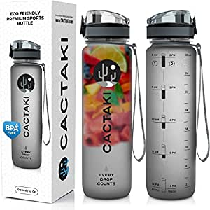 (Grey) - Cactaki Water Bottle with Time Marker, Large BPA Free Water Bottle, Non-Toxic, 1 Litre/950ml, Great for Health, Fitness and Outdoor Enthusiasts, Leakproof and Durable