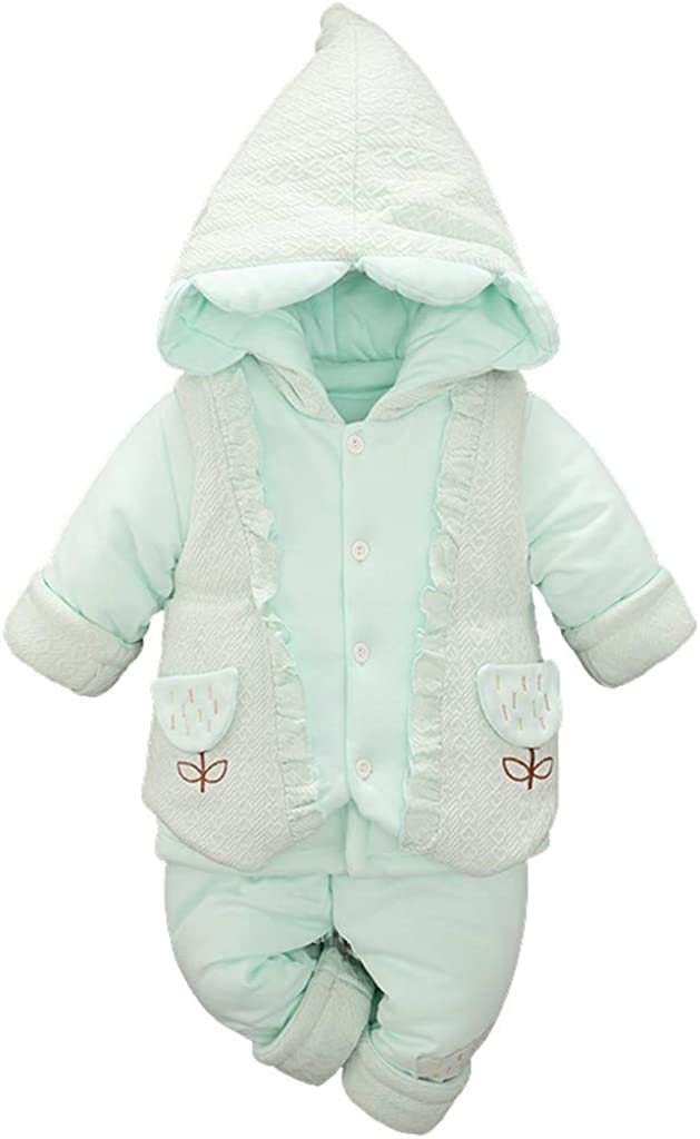 Newborn Toddler Hooded Warm Thick Jumpsuit Fineser Kids Baby Girls Boys Lace Cotton Casual Button Up Romper Clothes 0-3Yrs