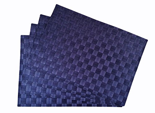 Place Mats , Washable Table Mats , Heat Resistant , Non-slip Placemat , Dining Placemats , PVC Table Mat for Dining Table , Set of 4 Vinyl Kitchen Placemats (4, Navy) (Rattan Furniture Used Sale)
