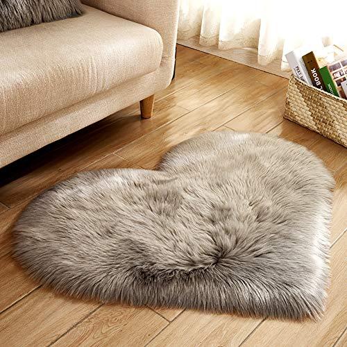 "yanQxIzbiu Soft Carpets for Living Room, Creative Heart Shape Plush Rug Cozy Anti-Slip Door Mat Home Bedside Decor,11.81"" x 15.75"" Light Gray"
