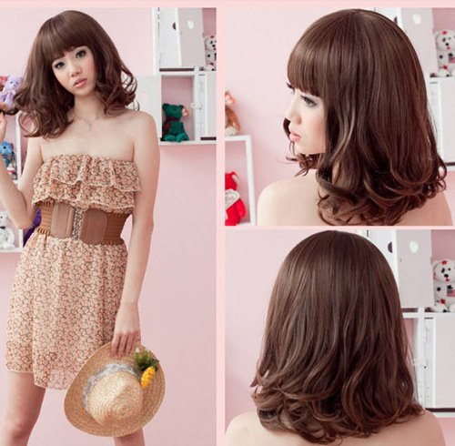 (Yiwu factory explosion models in Europe and America lady's fashion wig Korean headgear Amazon stock)