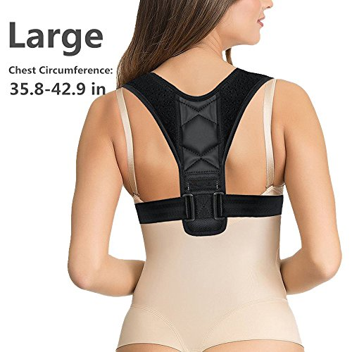 Back Posture Corrector for Women and Men - Thoracic and Shoulder Brace for Upper Back Corrector Support Pain Under Clothes - Adjustable Clavicle Lumbar Support Anti Scoliosis Posture Correction Large