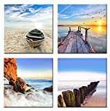 Home Art – Modern Art Seascape Giclee Canvas Prints Framed Canvas Wall Art for Home Decor Perfect 4 Panels Wall Decor Sea Beach Photos Paintings for Living Room Bedroom Dining Room Bathroom Office Picture