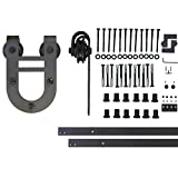 Vancleef 16FT Single Door Kit Sliding Barn Door Hardware, Horseshoe Design, Industrial Strength, Black Rustic, Interior and Exterior Use, With Quiet Glide Roller and Descriptive Installation Manual