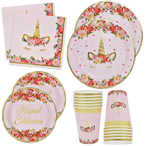 Unicorn Plates Napkins and Cups with Gold Foil Serves 24; 24 Dinner Plates 24 Dessert Plates 50 Luncheon Napkins and 24 Cups for Birthday Party Supplies Baby Shower Decorations Magical Floral Pink ()