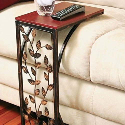 Sofa Side And End Table Small Metal Dark Brown Wood