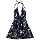 Boho Style Beach Summer Floral Print Dress Plunge Halter Backless Floral Dresses deep blue XXL