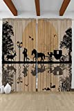 Cheap House Decor for Teens Cinderella Fairy Tale Carriage Full Moon Dream Dreamy Accessories Bedroom Living Kids Youth Room Curtain Two Panels Set 108 Inches Width x 84 Inches Length, Black Beige White