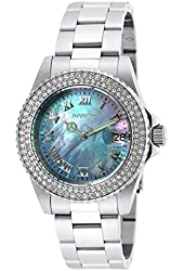 Invicta Women's Angel Steel Bracelet & Case Quartz Blue Dial Analog Watch 19872