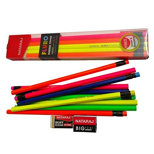 Nataraj FLURO Soft Wood Rubber Tipped Super Dark Neon Pencils for Cheerful Writing - Packs of 10 : Free Big Point Sharpener and Dust Clear ()