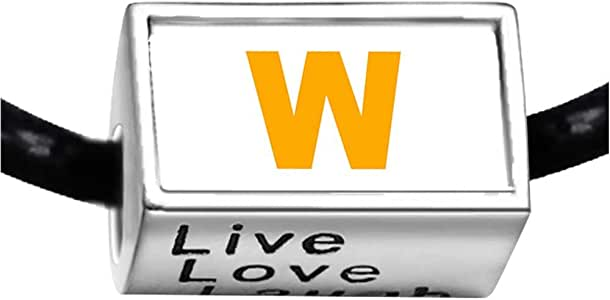 Chicforest Silver Plated Yellow Letter W Photo Live Love Laugh Charm Beads Fits Pandora Charm