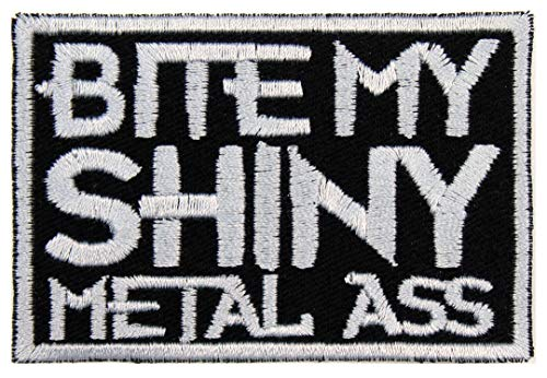 (Bite My Shiny Metal Ass Patch Iron On Applique - Black, Light Gray - 3