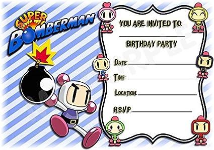 Super Bomberman cumpleaños fiesta invita a – diseño de rayas de ...
