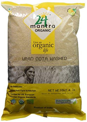 Organic Urad Dal Whole - White Matpe Beans Whole Lentils - USDA Certified Organic - European Union Certified Organic - Pesticides Free - Adulteration Free - Sodium Free - 4 Pounds - 24 Mantra Organic by 24 Mantra Organic