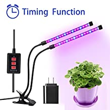 MOONBROOK Plant Grow Lights, Dual Head LED Lights 3 Modes Timer (3H/6H/12H) Dimmable 5 levels Adjustable with 360 Degree Flexible Gooseneck LED Plant Growing Lamp for Indoor Plants