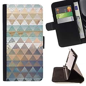 For Samsung Galaxy S5 V SM-G900 Case , Patrón Polígono arte de la naturaleza de la nieve del cielo del mar- la tarjeta de Crédito Slots PU Funda de cuero Monedero caso cubierta de piel