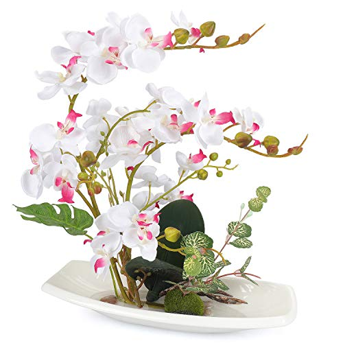Phalaenopsis Orchid Flower (Yobansa Orchid Bonsai Artificial Flowers with Imitation Porcelain Flower Pots Phalaenopsis Fake Flowers Arrangements for Home Decoration (White))