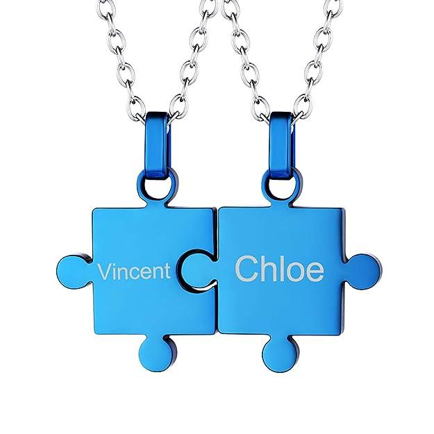Custom4U Grabar Mensaje Gratis Collar Personalizable de Parejas Rompecapezas Regalo Romántico de Amor para Novios Acero Azul: Amazon.es: Joyería