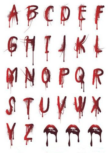 Set of 2 Waterproof Temporary Fake Tattoo Stickers Cool Sexy Bloody Halloween Alphabet Letters ()