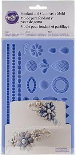Wilton 409-2528 Wedding Jewelry Fondant Mold, Blue
