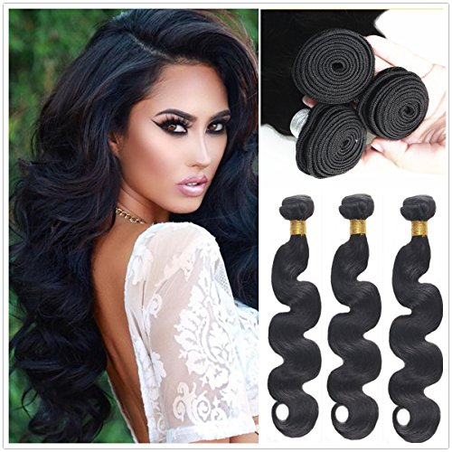 JinXiu Hair Brazilian Body Wave Human Extensions 3 Bundles Unprocessed Remy Virgin Human Hair Weave Hair Extensions Natural Color (18 20 22) ()