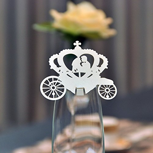 YUFENG 60pcs Wine Glass Place Card for Party Decoration Fairy Tale Wedding Laser Cut Enchanted Carriage Table Name Place Cards (Ivory 5 Packages)