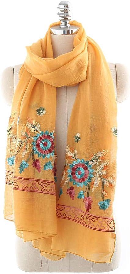AiNaMei Señoras bordados de primavera, otoño e invierno, versátiles pañuelos de algodón y lino.