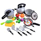 Jellydog Toy Pretend Play Kitchen Cooking Set, Toddler Kitchen Playset,Pots and Pans Set, Cutting Vegetable Playset,Educational Learning Toy, Kitchen Play Food for Boy Girl Kids 3