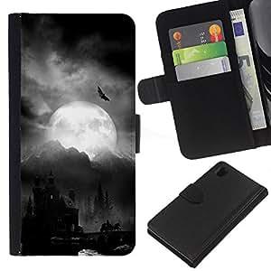 Luna Drácula Castillo de Halloween Bat- la tarjeta de Crédito Slots PU Funda de cuero Monedero caso cubierta de piel Para Sony Xperia Z1 L39