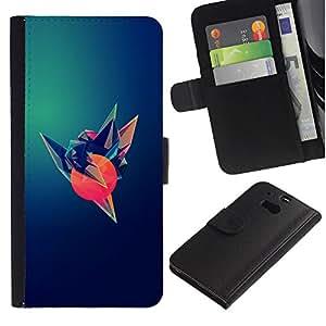Billetera de Cuero Caso del tirón Titular de la tarjeta Carcasa Funda del zurriago para HTC One M8 / Business Style Bird Sun Art Polygon Dark Hope