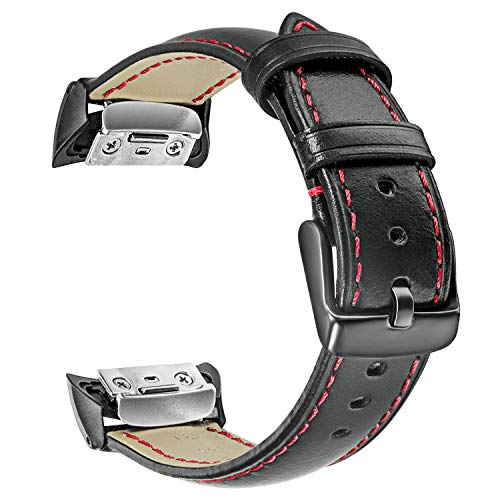 Gear Fit2 / Fit2 Pro Watchband, TRUMiRR Genuine Leather Band Sports Strap Wrist Bracelet for Samsung Gear Fit 2 SM-R360 / Fit 2 Pro SM-R365 Smart Watch, Black