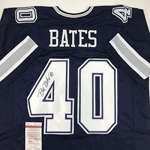 Autographed/Signed Bill Bates Dallas Blue Football Jersey JSA COA