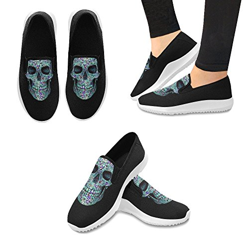 InterestPrint Skull Of Flowers Lady Pattern Slip on Canvas Sneakers for Women Skull1