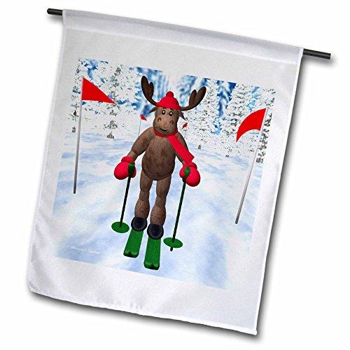 BK Whimsical Reindeer Winter - Cross Country Skiing Reindeer - 18 x 27 inch Garden Flag (fl_19362_2)