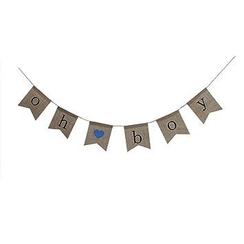 "/""oh boy/"" Pennant Flag Birthday Baby shower Vintage Hessian Bunting Banner"