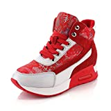 Cheap MINIVOG Women's Fashion Composite Toe Sneakers Red 7