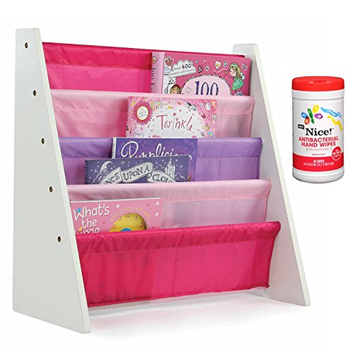Tot Tutors Kids 4-Pocket Book Rack Storage/Organizer in Pink/Purple with Antibacterial Hand Wipes