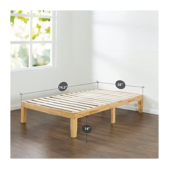 Zinus Moiz 14 Inch Wood Platform Bed / No Box Spring Needed / Wood Slat Support / Natural Finish, Twin - Easy to assemble and no box Spring needed 14 inches high with 3.5 inch frame Solid wood frame with strong wood slats and 3 center support legs - bedroom-furniture, bedroom, bed-frames - 51IEtrXTukL. SS570  -