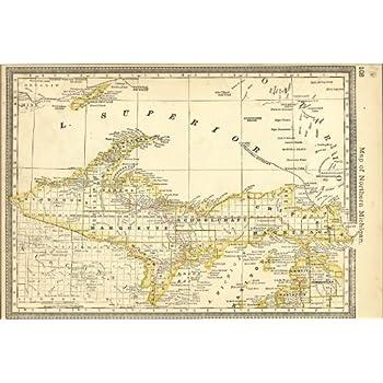 Upper Pennisula Michigan Map.24x36 Poster Map Of Upper Peninsula Michigan 1881 Antique Reprint
