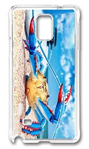 MOKSHOP Adorable colorful crab Hard Case Protective Shell Cell Phone Cover For Samsung Galaxy Note 4 - PC Transparent