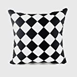 || JaaZ Textile ||__Black & White Square Pattern__Pure 100% Cotton Cushion Covers, Size 18 x 18 Hidden Zip Entry. Buy Single OR Sets. (Set Of 4) by JaaZ Textile Limited