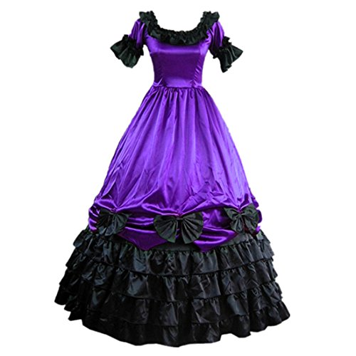 Partiss Womens Satin Ruffles Gothic Wedding Party Dress ,M,Purple