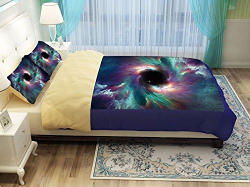 SAYM Home Bedding Sets,Outer Space 3D Printing Bedding Set,Galaxy Space Pattern Duvet Cover Sets 4 piece Soft and Bedding Sets, Full Size(1 Duvet Cover, 1 Bed Fitted Sheet, 2 Pillow Cases) Style 02
