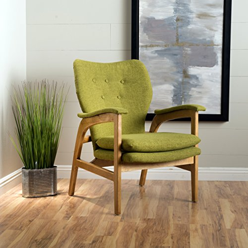 Christopher Knight Home Joseph Mid Century Modern Fabric Arm Chair, Green