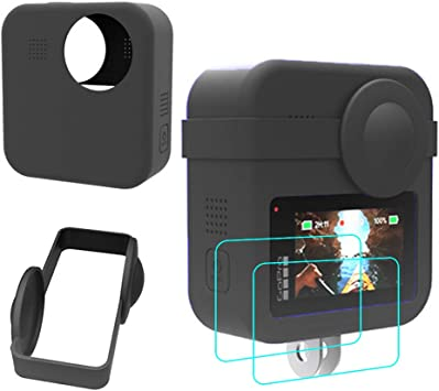 YGoal Funda Compatible con GoPro MAX, Resistente a los rasguños/Resistente a caídas Silicona Estuche para GoPro MAX Incluso 2 Pack Protector de Pantalla y Cubierta de la cámara, Negro: Amazon.es: Electrónica