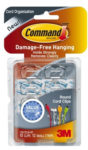 Command Round Cord Clips, Clear, 20-Clip