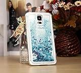 Tech Express (Tm) Blue Glitter Gel Liquid Purple Blue Stars Quicksand Girly Kawaii Pretty Hard Cover Case for Samsung Galaxy Note 4 N910