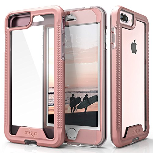 Zizo ION Series Compatible with iPhone 8 Plus Case Military Grade Drop Tested with Tempered Glass Screen Protector iPhone 7 Plus Case Rose Gold Clear by Zizo
