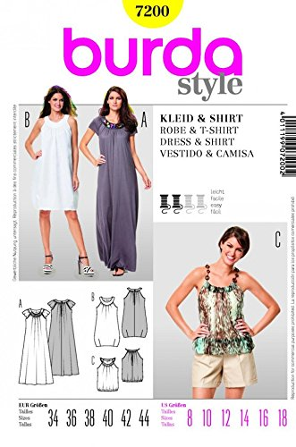 Amazon.com: Burda Ladies Sewing Pattern 7200 - Dress & T-Shirt Sizes ...