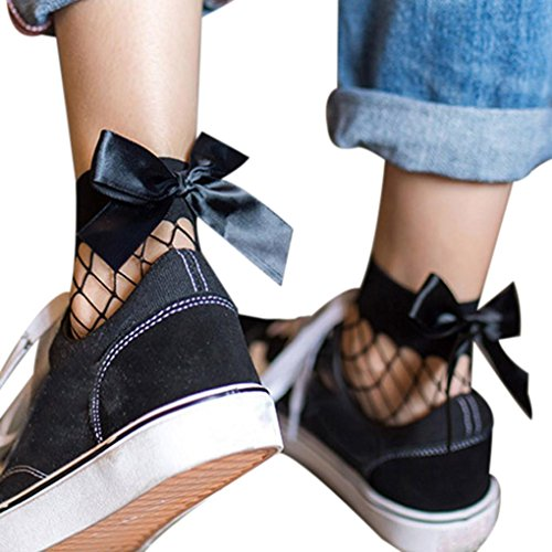 Fishnet Socks ,Beautyvan1 Pair Women Bow Ruffle Ankle High Mesh Lace Fishnet Short Socks (E)